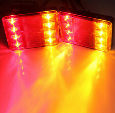 2X 12V 8 LED CAMPER RV TRUCK TRAILER STOP REAR TAIL TURN LIGHT INDICATOR LAMP