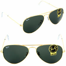 NEW Ray-Ban Unisex RB 3025 W3234 55mm Aviator Sunglasses Gold / Green Lens