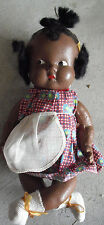 "Vintage 1930s Composition Black Baby Girl Character Doll 10"" #2"