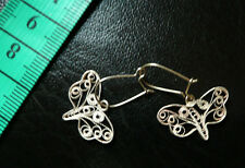 antichi orecchini farfalle in filigrana d'argento butterfly silver earrings
