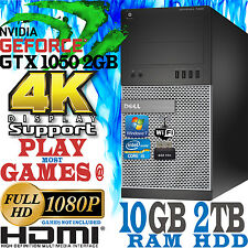 Ultra Fast DELL Gaming Computer Quad Core i5 10GB 2TB nVidia Geforce GTX 1050 4K