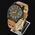 Mens SOKI Analog Quartz Date Function Dark Brown Leather Strap Wrist Watch