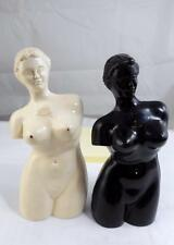 PLASTIC BLACK WHITE WOMAN FIGURE NAKED STATUE VINTAGE SALT & PEPPER SHAKERS