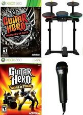 Xbox 360 Guitar Hero Warriors of Rock Game + Mic+ Wireless Drum Kit + World Tour