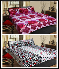 Homefabs Set of 2 Cotton Double Bed Sheet with 4 Pillow Covers