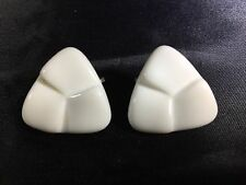 Retro VTG White Enamel Triangle Clip-On Earrings Clips