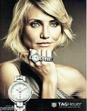 PUBLICITE ADVERTISING 106  2012  Tag Heuer montre Link diamants & Cameron Diaz