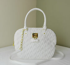 Betsey Johnson White Perforated Quilted Heart Always Be Mne Dome Satchel