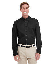 Harriton Men's 100% Cotton Long-Sleeve Teflon Coated Oxford Twill Shirt S-6XL