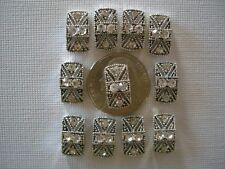 2 Hole Slider Beads Marcasite Panels Clear Crystal Made w/Swarovski Elements #11