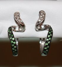 18kt White Gold TSAVORITE Green Garnets in Rhodium & DIAMOND Omega Back EARRINGS