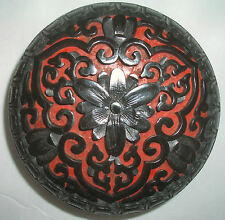 Late 19th Early 20th Century Chinese Lacquer Cinnabar Carved Round Paste Box