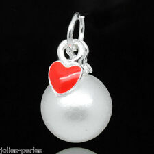 10 Silver Plated Enamel Red Heart Round Acrylic Pearl Charm Pendants 17x10mm