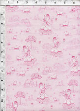Timeless Treasures Little Bo Peep Pink Toile Fabric