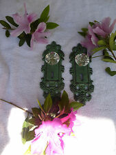 TWO Cast Iron decorative door plates acrylic glass knobs antique teal / gold