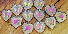 VTG 12 BUTTERFLY German Crystal Iridescent Intaglio Glass Pendant Charms Jewelry