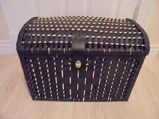 NICE Black Whicker Storage Trunk CHest WIth Black Leather Front CLosure 19x14x12
