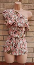 H&M DUSTY PINK BUTTERFLY PRINT ONE SHOULDER RUFFLE PEPLUM TOP TUNIC BLOUSE L 14