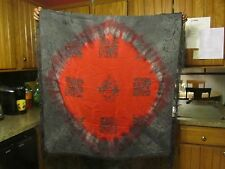 """Silk Painted Piano Scarf Grey Red Fringe 44"""" x 44"""" square - NAT"""