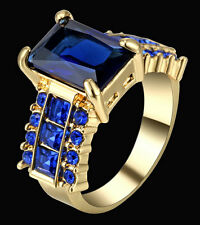 Size 8 Princess Cut Blue Sapphire Band Women's 10K Yellow Gold Filled Gift Ring