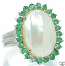 Solid 925 Sterling Silver Genuine Emerald Oval Mabe Pearl Ring Size 8 '