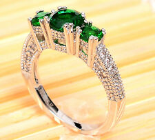 Sz6 Three-Stone Round Emerald Zircon 10KT White Gold Filled Women's Wedding Ring