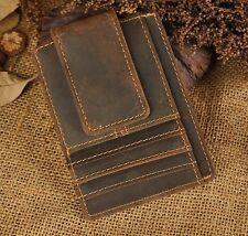 Men Genuine Real Leather Vintage Card Holder Money Clip Slim Handy Pocket Wallet