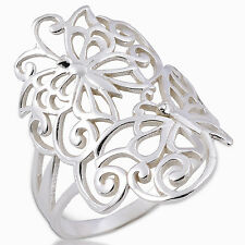Ring Butterfly and Flower white Sterling Silver Size.8/P