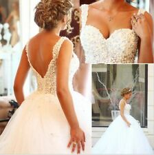 Beaded Ball Gown Tulle Straps Wedding Dress Tulle White Bridal Gown Custom Made
