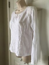 Soft Surroundings Embroidered  White Cotton Long Sleeve Blouse Size Small