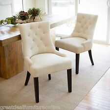 Set of 2 Beige Tufted Fabric Accent Dining Chairs