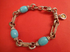 Judith Ripka TWO 18k Gold Sterling Turquoise with Diamond Charm Bracelet $1200