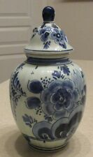 Vintage Royal Delft Small Ginger Jar w/ Lid Covered Urn Vase Holland Blue White
