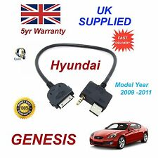 For Hyundai Genesis iPhone 3 3gs 4 4S iPod USB & Aux Audio Cable MY 2009-11