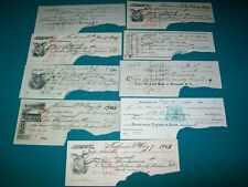 Lot of 9 100 year old bank checks from famous gun patent guy big dollar amounts