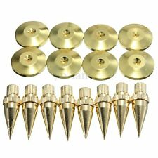 8Pcs Golden Copper Solid Speaker Spike Isolation Stand Foot M6*36 Cone Base Pads