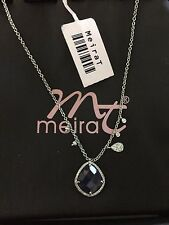 Meira T 14k White Gold Blue Sapphire and Diamond Pendant Necklace