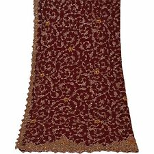 Sanskriti Vintage Dupatta Long Stole Net Mesh Dark Red Veil Hand Beaded Scarves