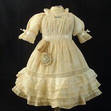 Antique Original French Factory Jumeau cotton Doll Dress Slip & Boomers 24-26""