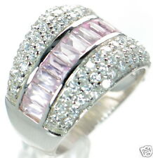 Solid 925 Sterling Silver Pink Baguette and Clear CZ Band Ring Sz- 6 '