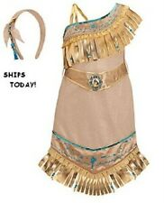Disney Store POCAHONTAS Dress Indian Girl Fringe Costume + Headband Size 2/3 NWT