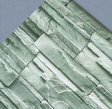 45cmx10m Green Grey Brick/Stones Prepasted Self-Adhesive Vinyl Contact Wallpaper
