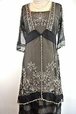 Nataya Romantic Titanic Black/Gray Dress L Gatsby Victorian Steampunk Lace fancy