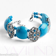 Turquoise Blue Color Tibet Silver Flower Spacer Double Row Cuff Bracelet