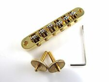 GOLD Nashville Tune-O-Matic Style Bridge w/Roller Saddles (Great for Bigsby)