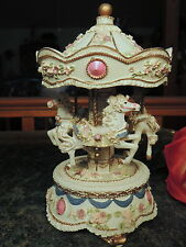 """Classic MERRY-GO-AROUND w Horses REALLY ORNATE Music Box Plays """"LOVE STORY""""!"""