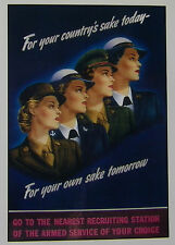 "Navy Army Marines Air Force Women FOR YOUR COUNTRY'S Reprint POSTER 12"" x 18"""