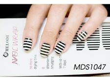 16 Pcs Nail Wrap Patch Self-adhesive Stickers Kawaii Black White Strips MDS1047