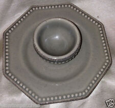 FOOD NETWORK PROVENCE GREY EGG CUP & ATTACHED SAUCER BEADED EDGE OCTAGONAL