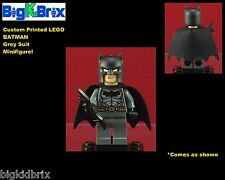 BATMAN Grey Suit DC Custom Printed LEGO Minifigure with Cape NO DECALS USED!